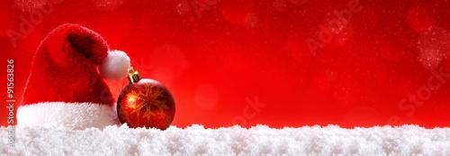 Fotografie, Obraz  Red  Christmas hats.