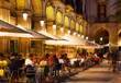 canvas print picture - restaurants at Placa Reial in  night. Barcelona