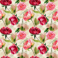 FototapetaSeamless pattern with red, pink peonies, leaves.