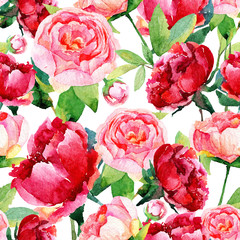 Obraz na PlexiSeamless pattern with red, pink peonies, leaves.