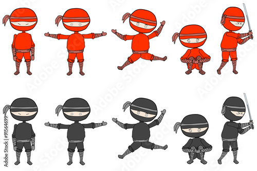 Fotografie, Obraz Ninjas Set of cute red and black ninjas