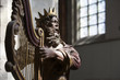 canvas print picture - Antique wooden sculpture of King David