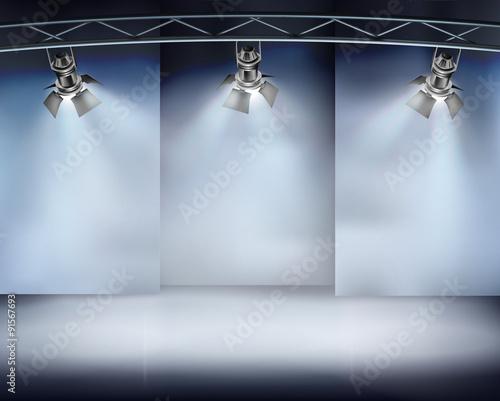Foto op Canvas Licht, schaduw Illuminated wall in art gallery. Vector illustration.
