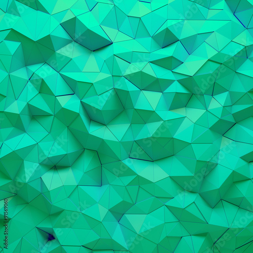 Abstract green 3D geometric polygon facet background mosaic made by edgy triangles