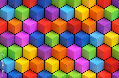 Colorfull 3D geometric boxes background - vibrance cubes seamless pattern
