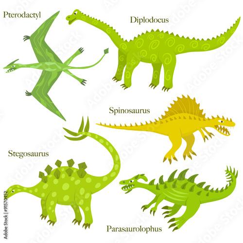 Photo  Cartoon dinosaurus collection