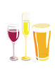 Flat vector image of a wine, beer, and champagne glass