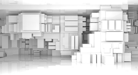 3d abstract white empty high-tech interior
