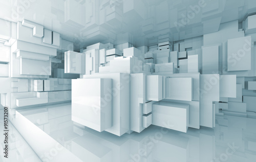 Abstract high-tech interior with chaotic cubes