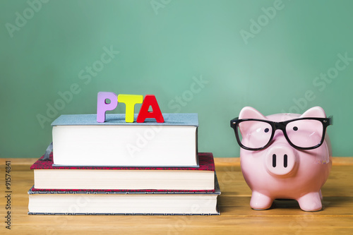 PTA theme with pink piggy bank with chalkboard Wallpaper Mural