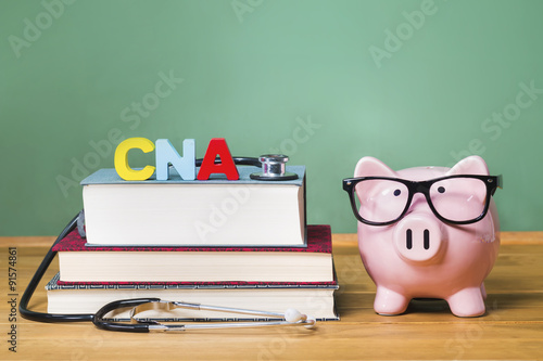 Photo  Certified Nursing Assistant CNA theme with pink piggy bank