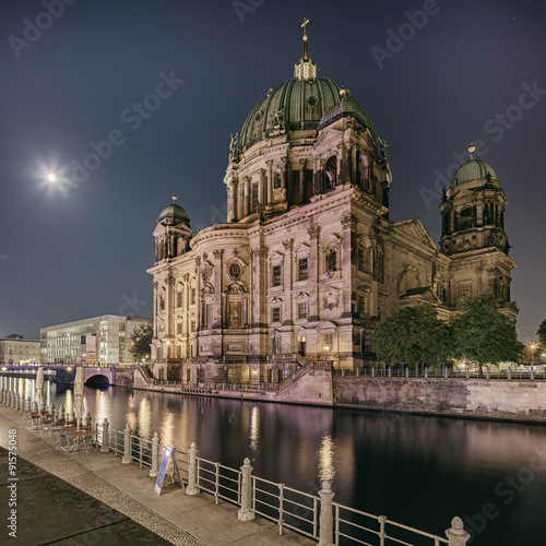 Berliner Dome Cathedral at night Poster