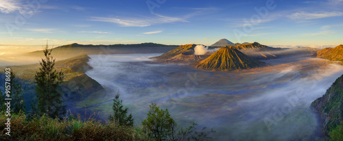 Poster Indonésie Bromo volcano at sunrise, East Java, Indonesia