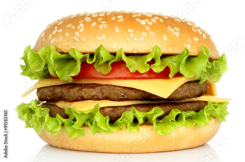 Fotografie, Tablou Big hamburger on white background