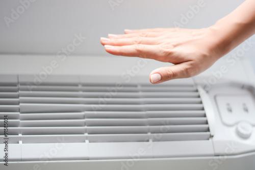 Check air conditioner heat or room temperature Canvas Print
