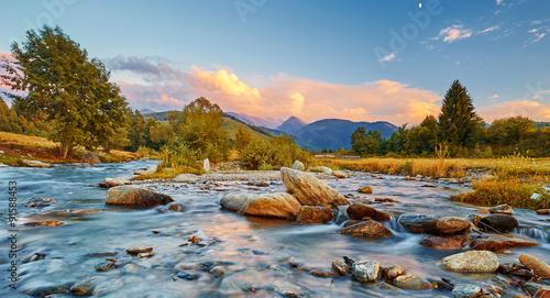 Printed kitchen splashbacks River Mountain River Sunset