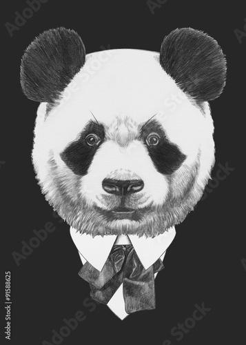 Portrait of Panda in suit. Hand drawn illustration. Canvas Print