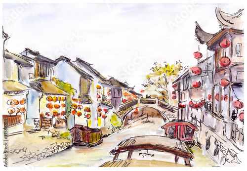 Watercolor - water canal in old town in China. Red lanterns. Wallpaper Mural