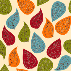 FototapetaVector Seamless Pattern with Autumn Leaves