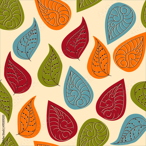 Vector Seamless Pattern with Autumn Leaves - 91589283