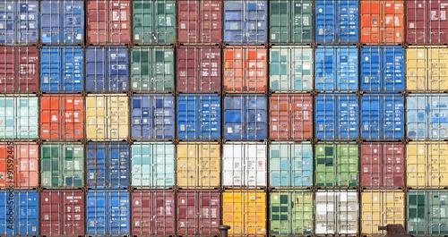 Fotomural Container im Hafen von Antwerpen, Belgien
