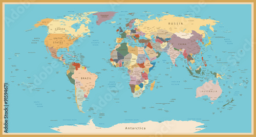 La pose en embrasure Carte du monde VINTAGE WORLD MAP