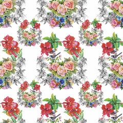 Fototapeta Watercolor Wild exotic birds on flowers seamless pattern on