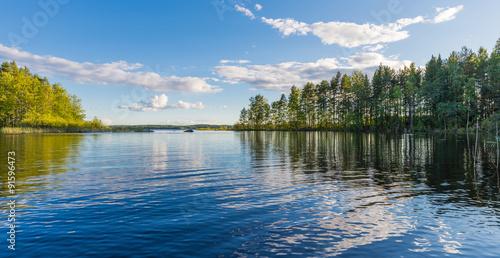 Papiers peints Lac / Etang Landscape lake with reflection, clouds.