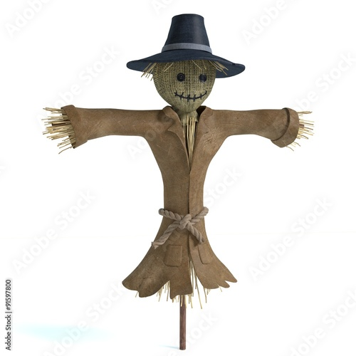 Fotografie, Obraz 3d illustration of a scarecrow