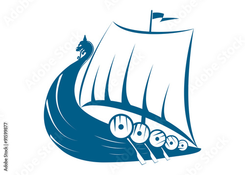 Fotografie, Obraz  Viking Ship Illustration