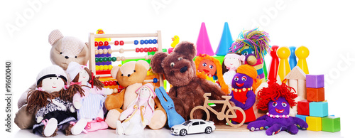 Fotografía  Pile of toys isolated on white