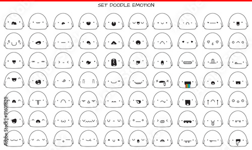 Set of 70 cute sketch characters with doodle emotions - 91601620