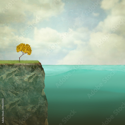 Wall Murals Surrealism Small tree perched