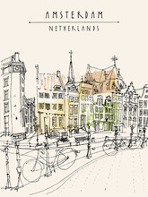 Amsterdam City View. Vector Ha...
