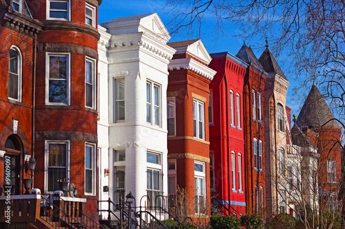 Valokuvatapetti Row houses of Mount Vernon Square in Washington DC