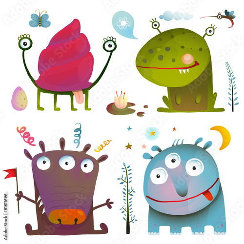 Deurstickers Fun Cute Little Monsters for Kids Design Colorful Collection