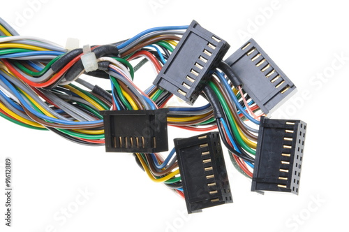 Fotomural Computer connection cables and plugs isolated on white background