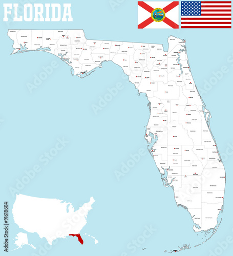 Large Map Of Florida.A Large Map Of The State Of Florida With All Counties And County