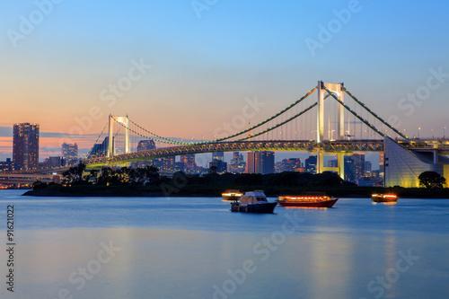Deurstickers Asia land rainbow bridge odaiba tokyo japan important destination to visit