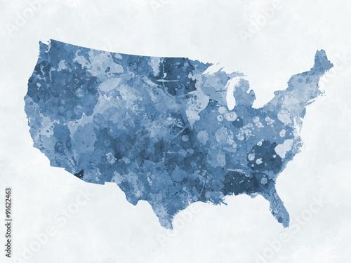 Stampa su Tela  World map in watercolor