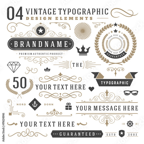 Staande foto Retro Retro vintage typographic design elements