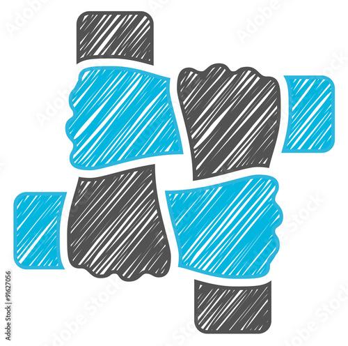 Fotografía  scribble blue hands teamwork