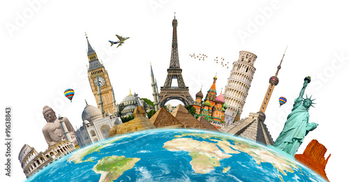 Famous monuments of the world Wallpaper Mural