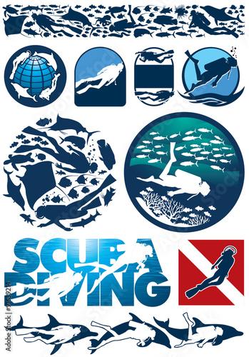 Fotografie, Obraz  Scuba diving editable vector  elements