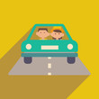 Flat with shadow icon and mobile application Friend car