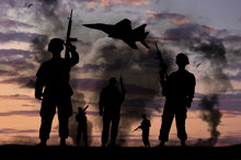 Silhouettes Of Military Soldi...