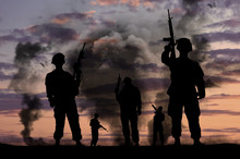 Silhouettes Of Military Soldie...