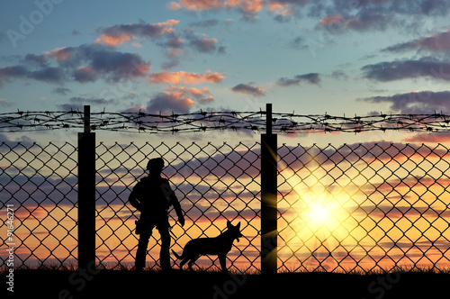 Fotografía  Silhouette of a soldier and a dog