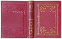 Old Open Book Cover In Red Canvas With Embossed Golden Abstract Decorations (circa 1885), Isolated On White