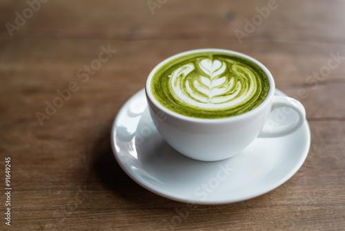 Fotografie, Obraz  matcha latte on wooden background